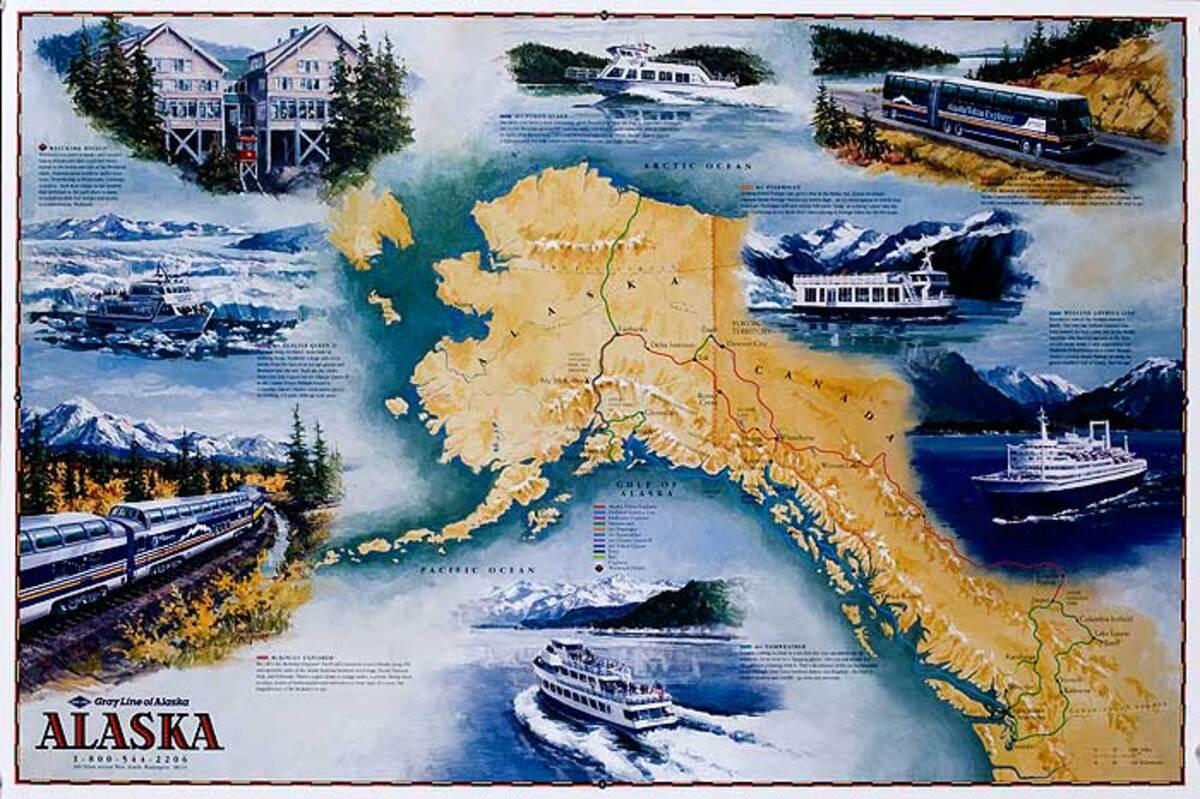 Grey Lines Alaska Original Cruise Line Travel Poster