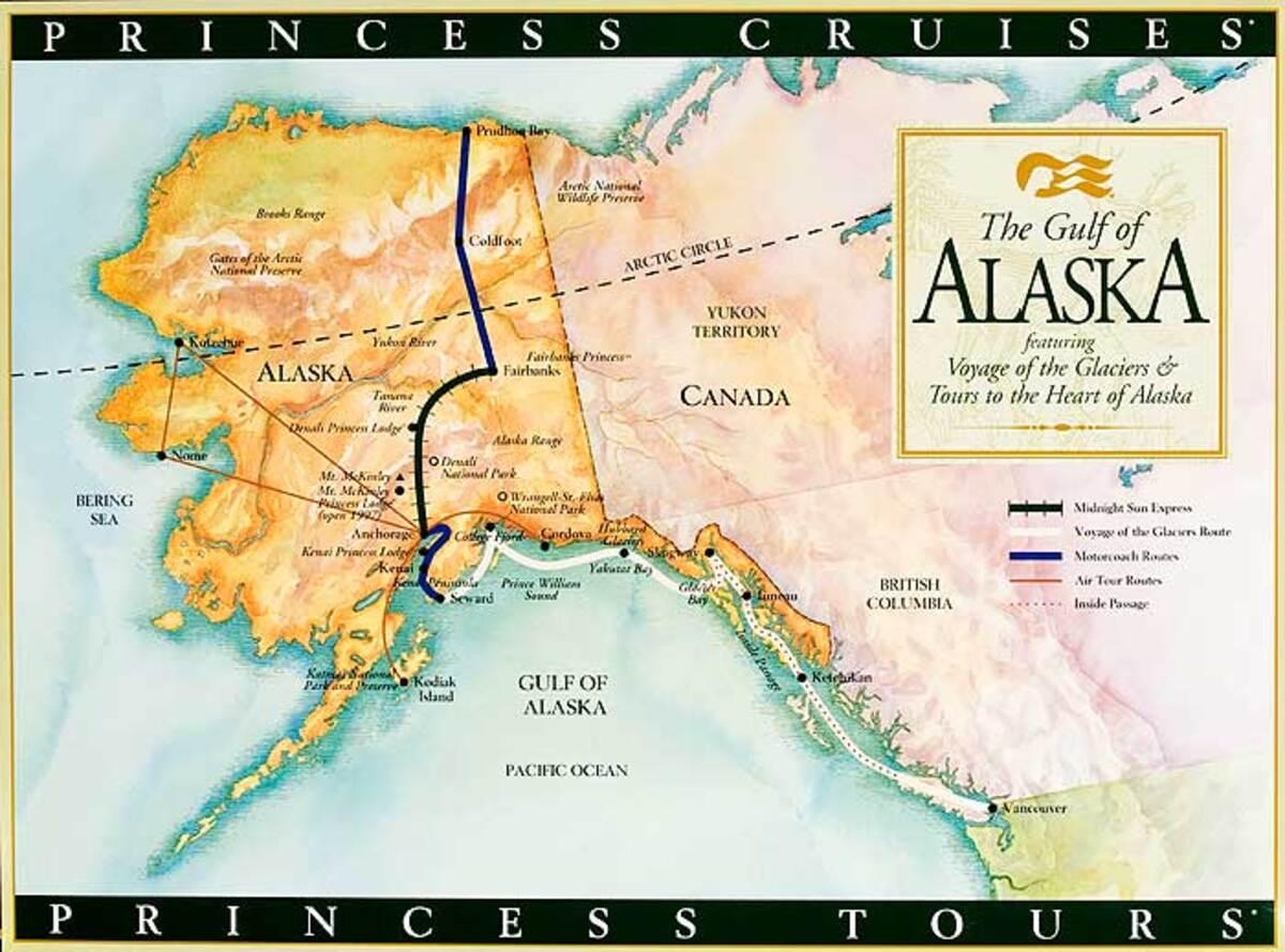 Princess Cruises of Alaska Original Cruise Line Travel Poster