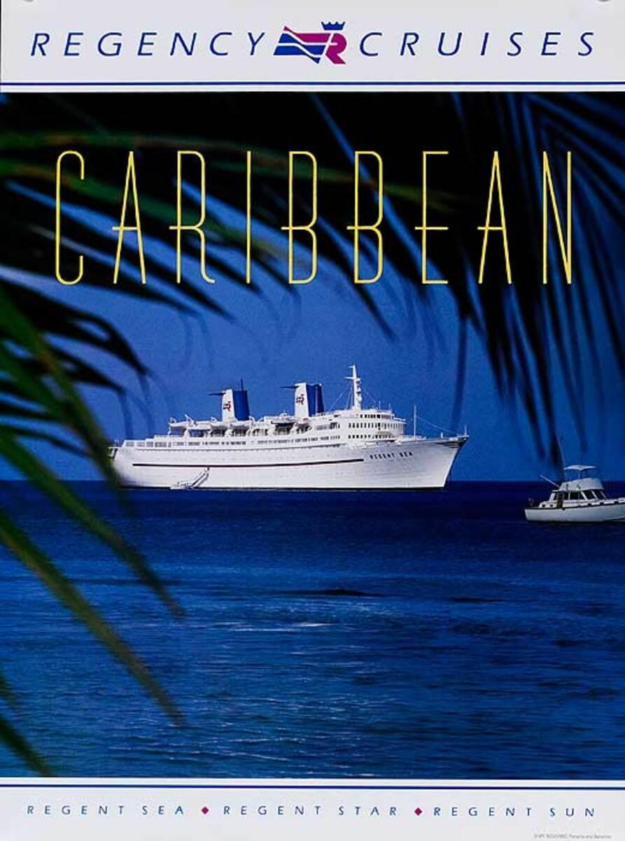 Regency Cruises Caribbean Original Cruise Line Travel Poster