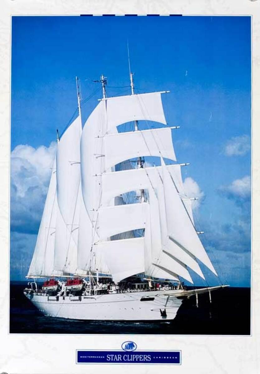 Star Clipper Caribbean Original Cruise Line Travel Poster