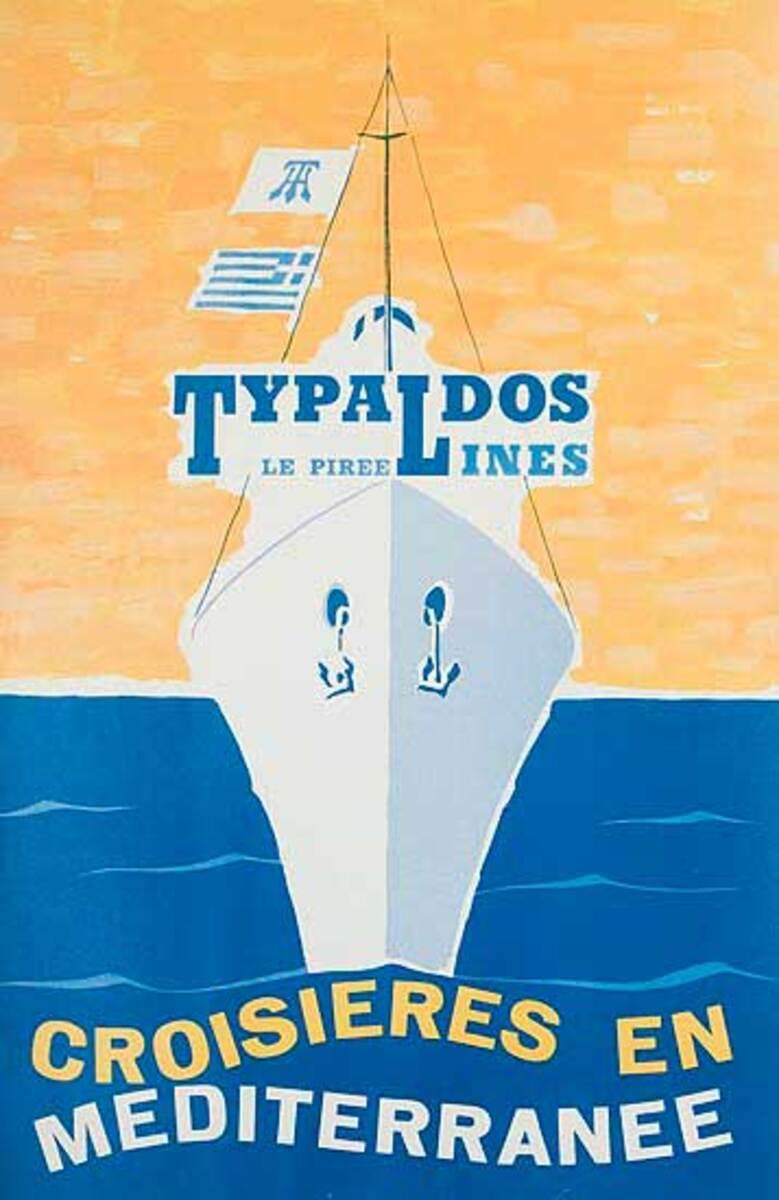Typaldos Lines Original Mediterranee Cruise Travel Poster