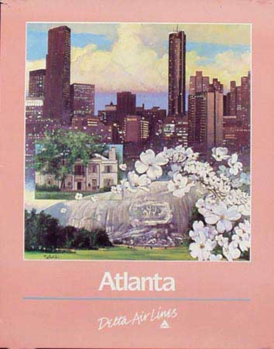 Delta Airlines Atlanta Original Vintage Advertising Travel Poster