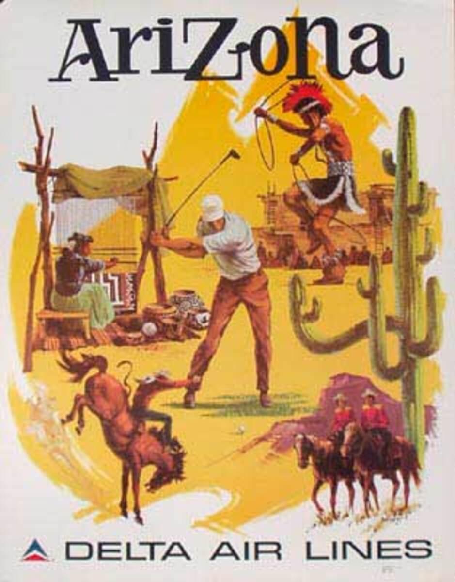 Delta Airlines Original Travel Poster Arizona