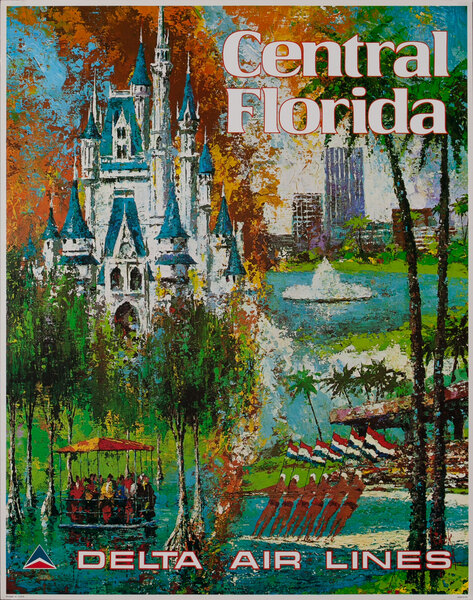 Delta Airlines Original Travel Poster Central Florida Laycox