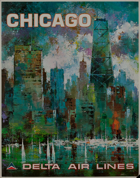 Delta Airlines Original Travel Poster Chicago Laycox