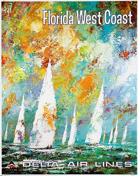 Delta Airlines Original Travel Poster Florida West Coast Laycox