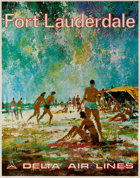 Delta Airlines Original Travel Poster Fort Lauderdale Laycox