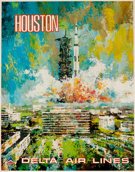 Delta Airlines Original Travel Poster Houston Laycox