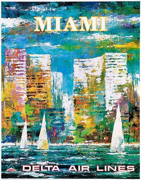 Delta Airlines Original Travel Poster Miami Florida Laycox