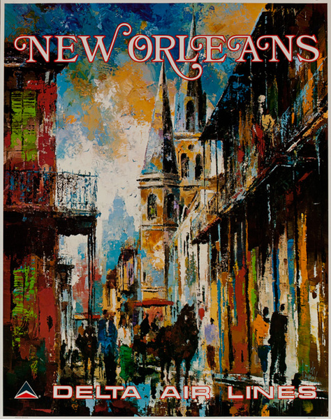 Delta Airlines Original Travel Poster New Orleans Laycox
