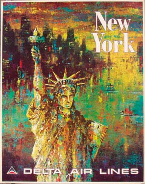 Delta Airlines Original Travel Poster New York Laycox