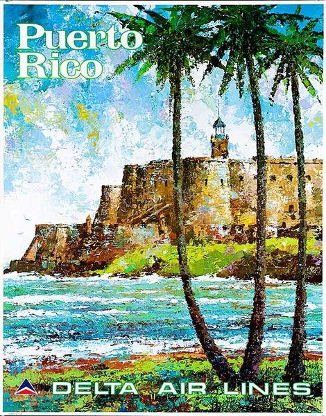 Delta Air Lines Original Travel Poster Puerto Rico Laycox