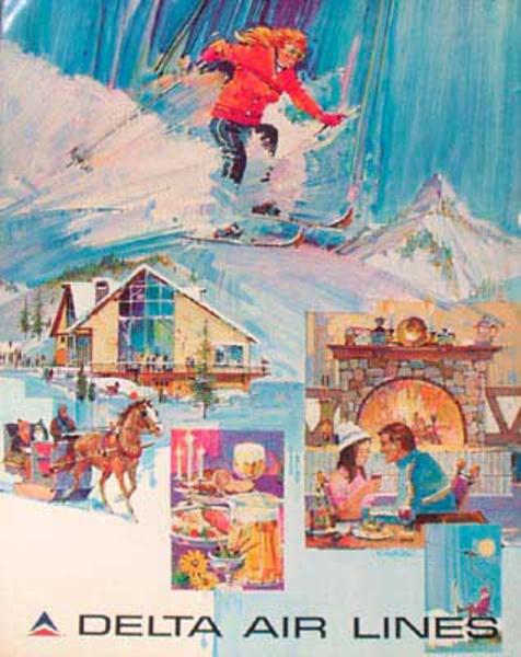 Delta Airlines Original Travel Poster Ski