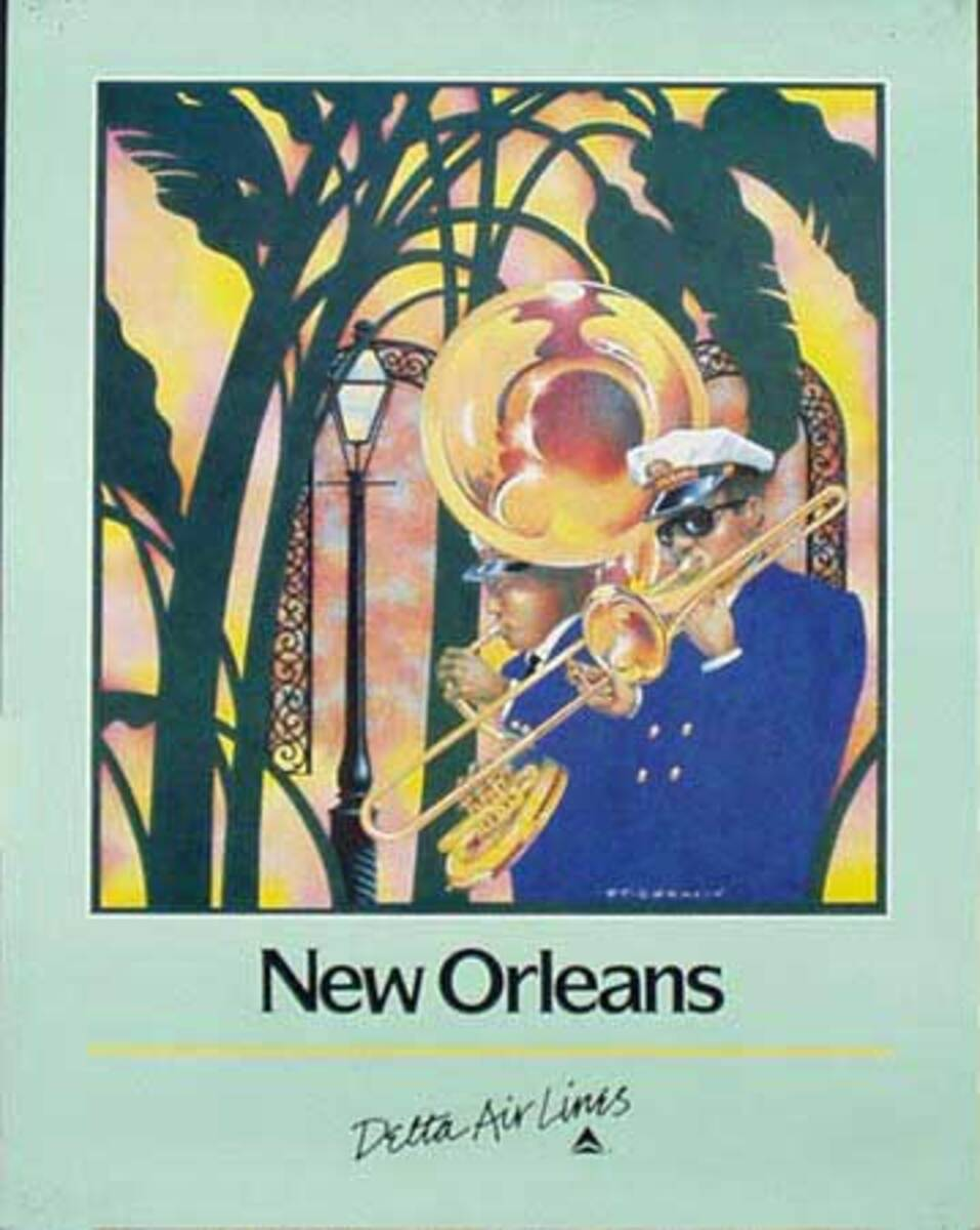 Delta Airlines New Orleans Jazz Band  Original Vintage Advertising Travel Poster