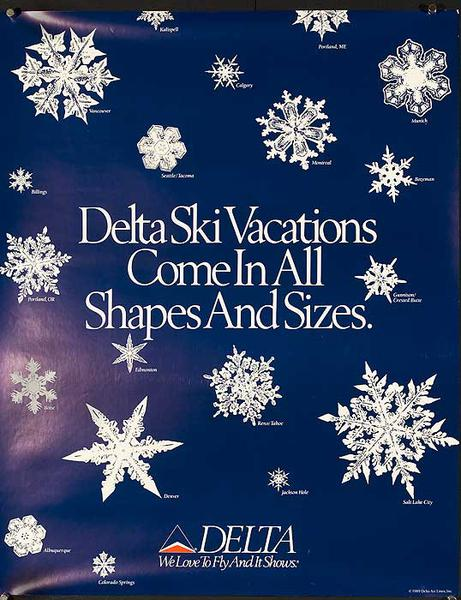 Delta Airlines Ski Vacations Come in All Sizes Travel Poster