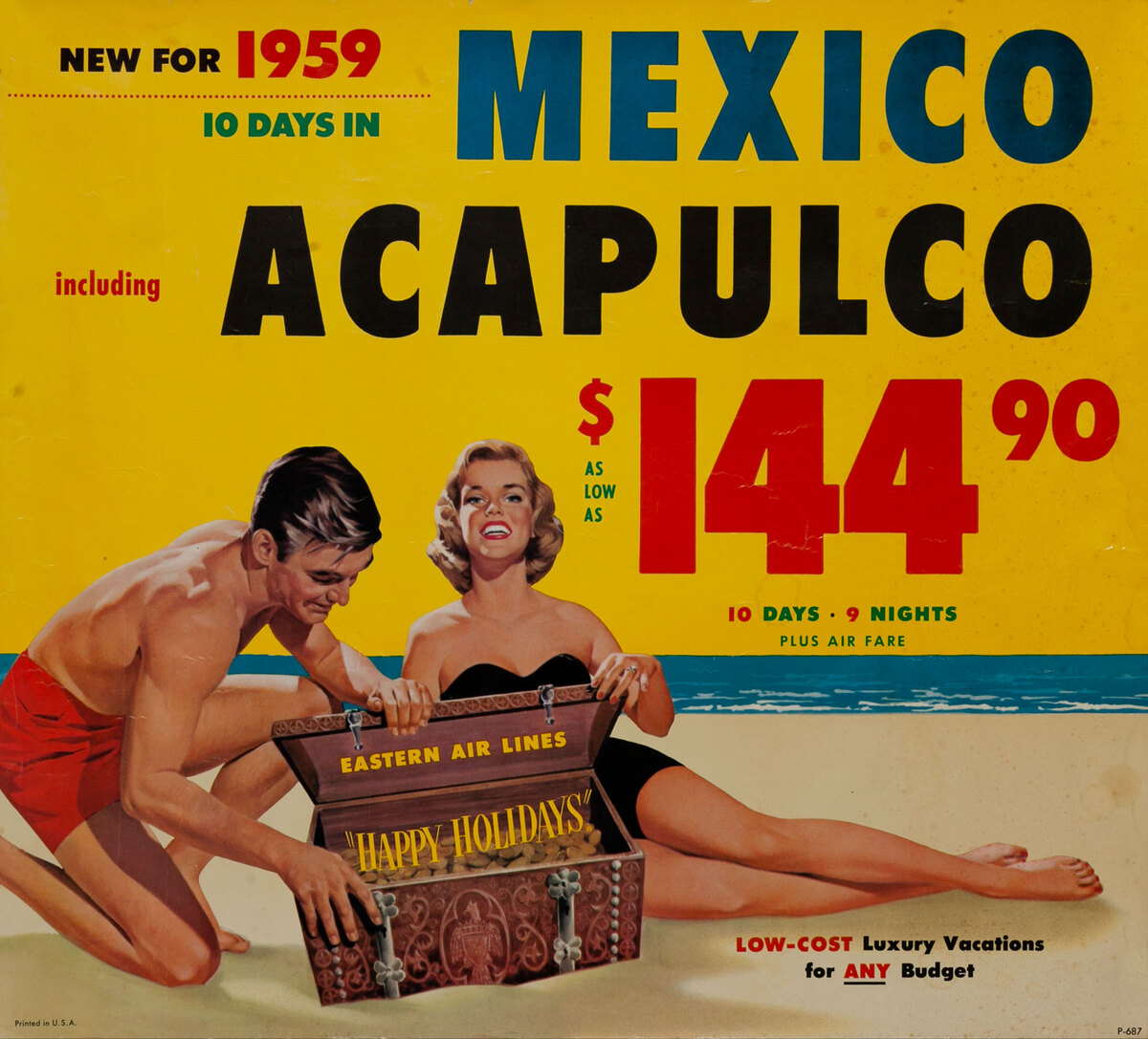 Acapulco Original Vintage Eastern Air Lines Travel Poster
