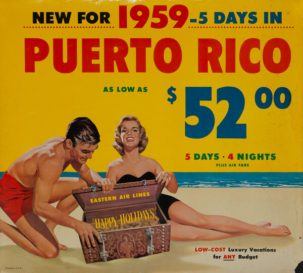 Puerto Rico Original Vintage Eastern Air Lines Travel Poster