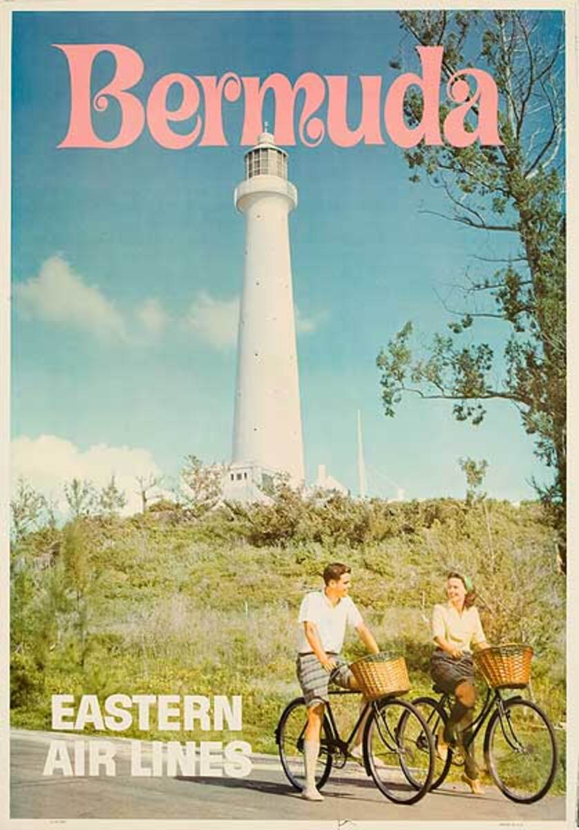 Bermuda Original Eastern Air Lines Travel Poster Couple On Bicycles