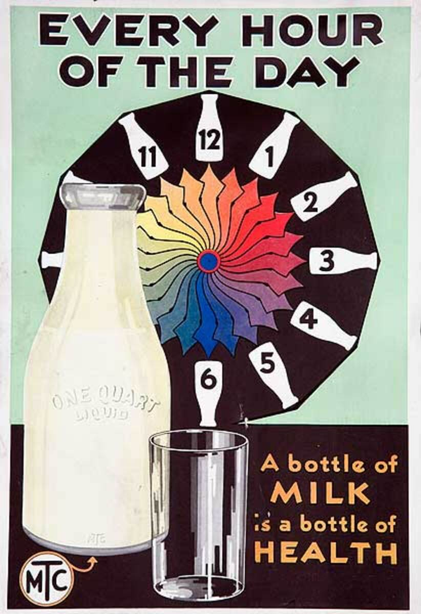Every Hour Of The Day Original Milk Bottle Advertising Poster