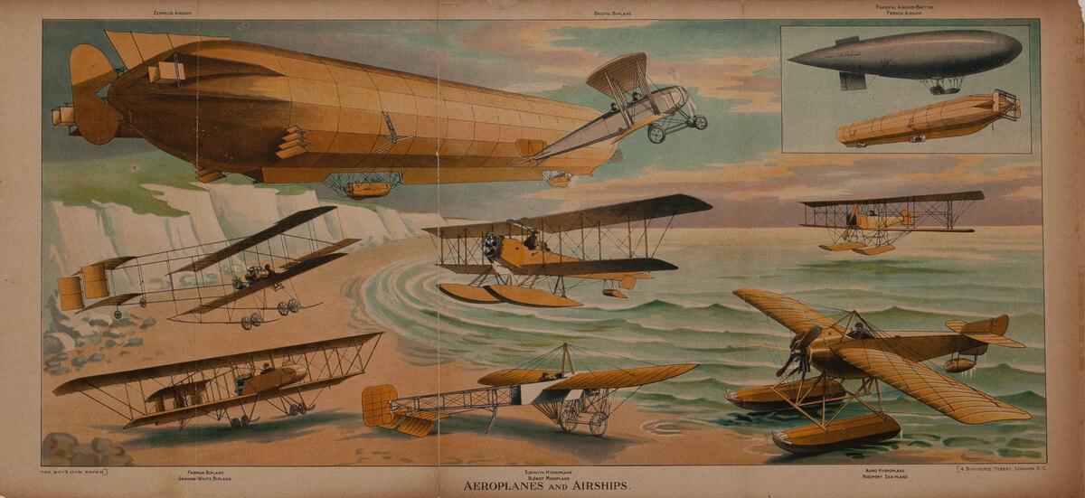 Aeroplananes and Airships Original Early Aviaton Poster