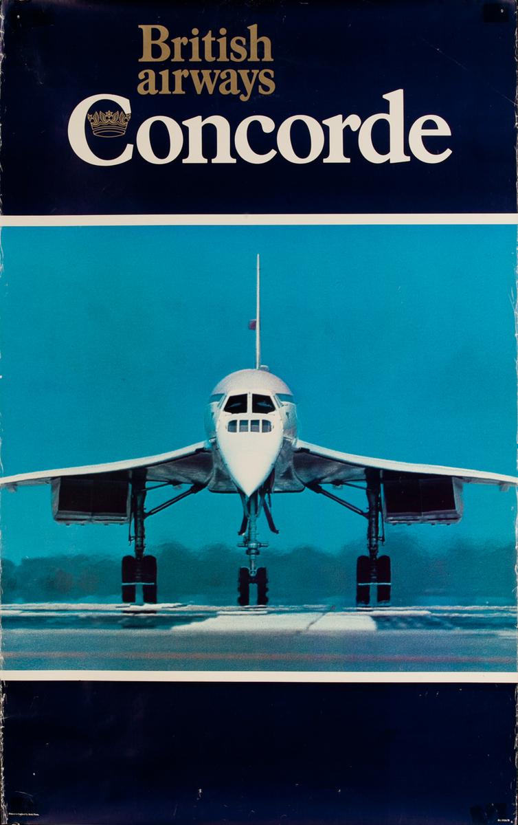 British Airways Concorde on runway Original Vintage Travel Poster