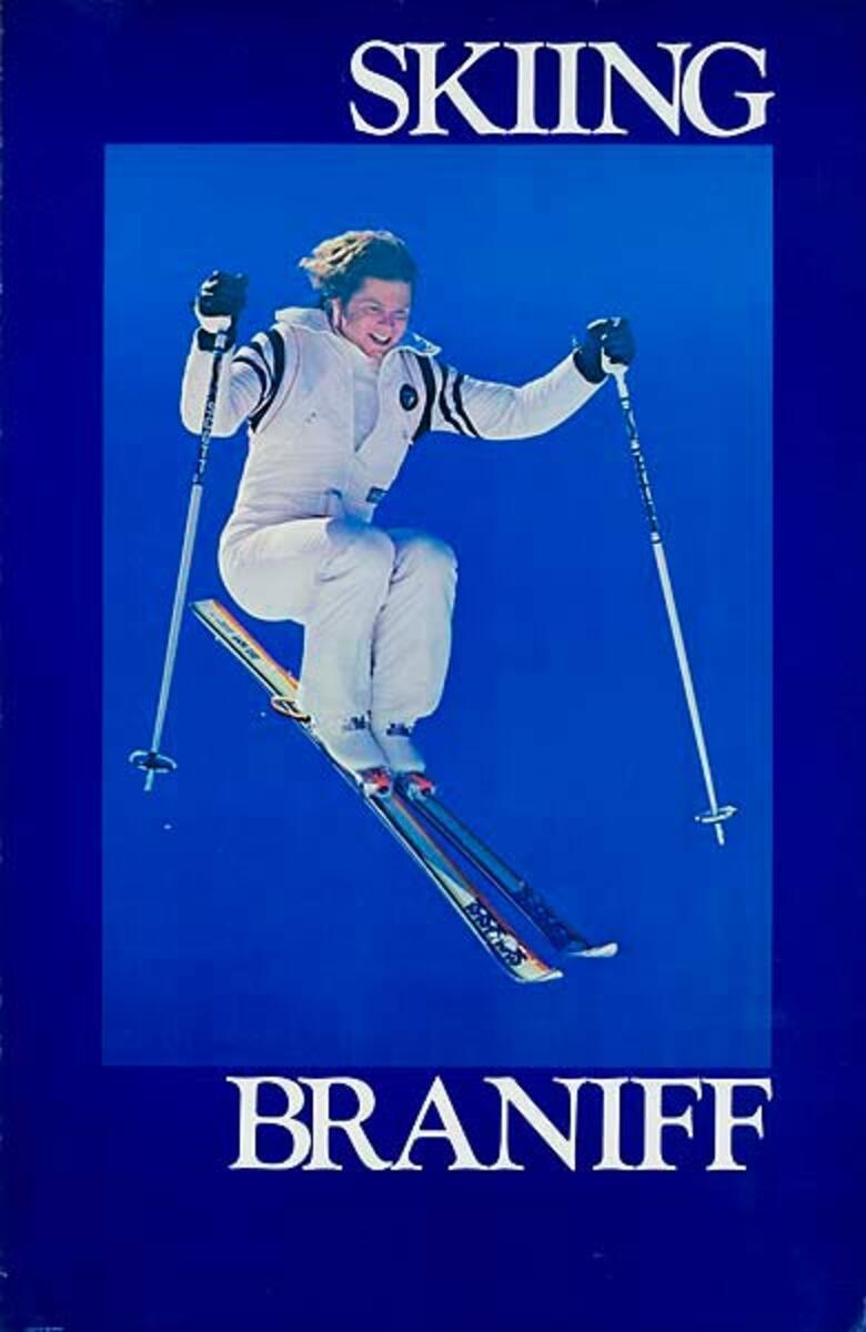 Braniff Airlines Original Poster Skiing