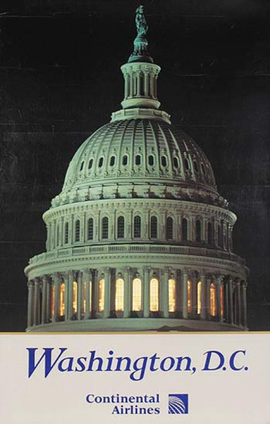 Continental Airlines Original Travel Poster Washington DC