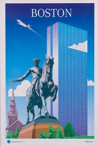 Independence Air Original Travel Poster Boston