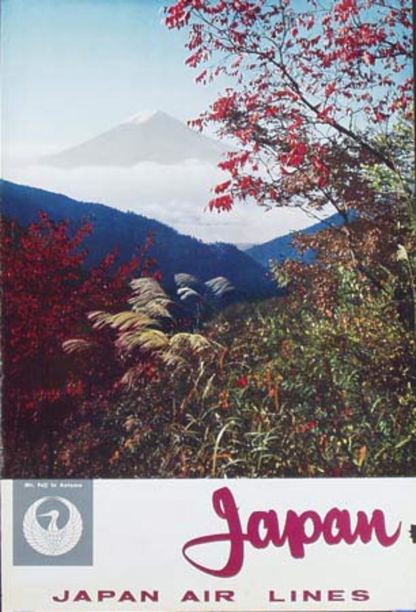 Japan Air Lines Original Vintage Travel Poster Mt Fuji Autumn