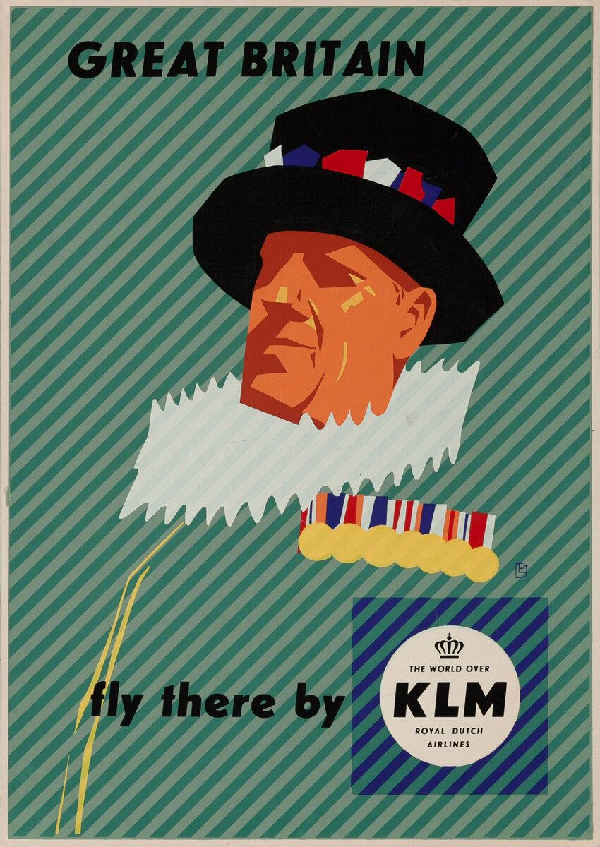 KLM Great Britain Original Vintage Travel Poster