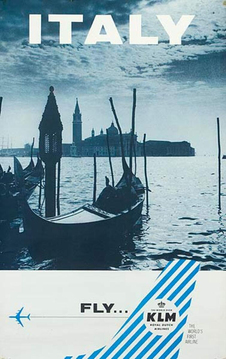 KLM Airlines Original Travel Poster Venice Italy
