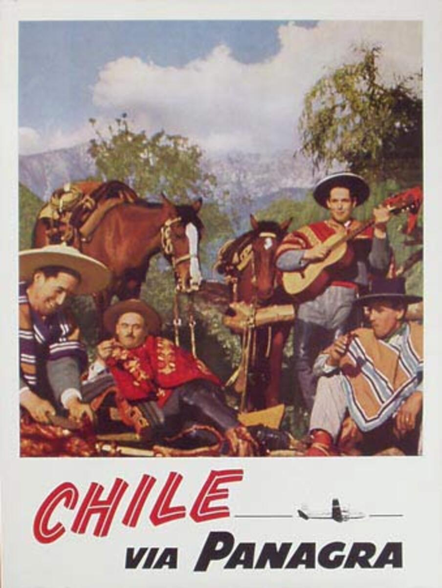 Panagra Original Vintage Travel Poster Chili Cowboys
