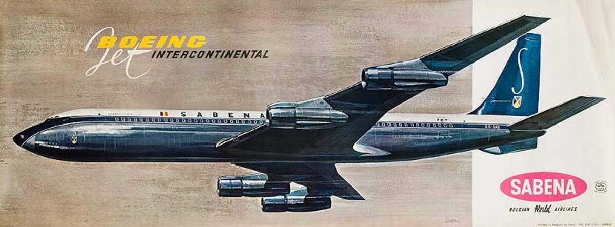 Sabena Airlines Original Vintage Advertising Poster 707