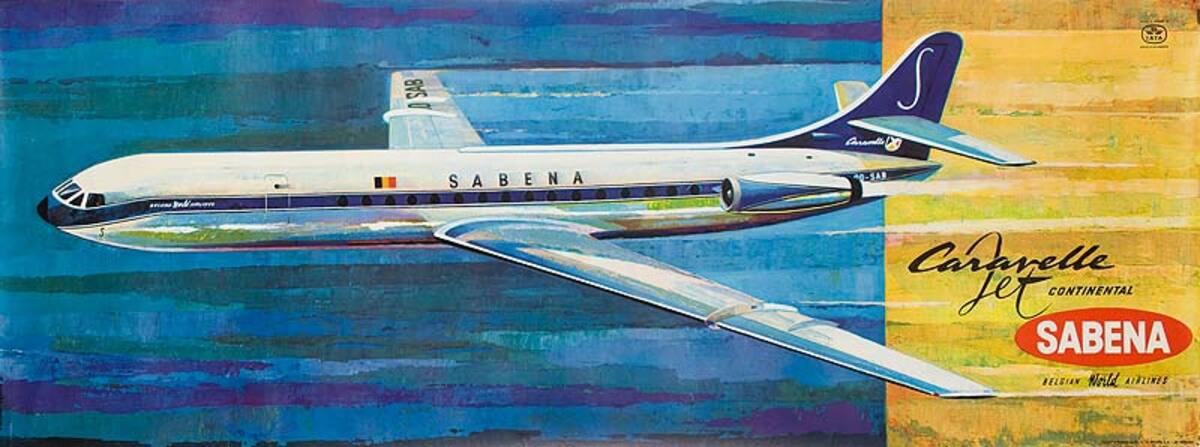 Sabena Airlines Original Vintage Travel Poster Caravelle Jet Flying