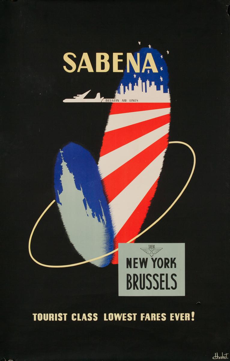 Sabena Brussels New York Original Airline Travel Poster