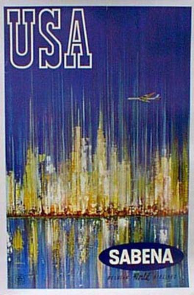 Sabena USA Original Vintage Travel Poster