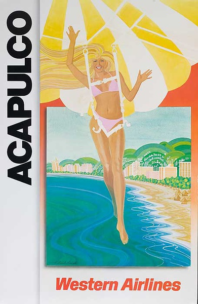 Western Airlines Acapulco Original Travel Poster Parasailing