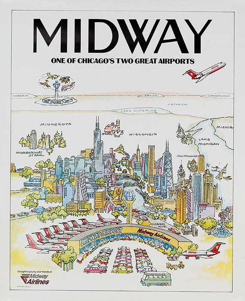 Midway Airlines Original Travel Poster One of Chicago's Two Great Airports