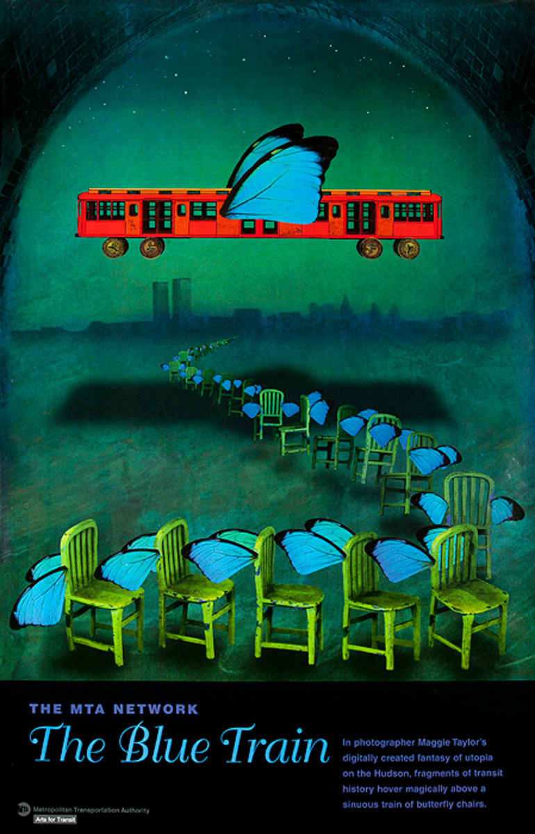 Arts for Transit Poster Blue Train