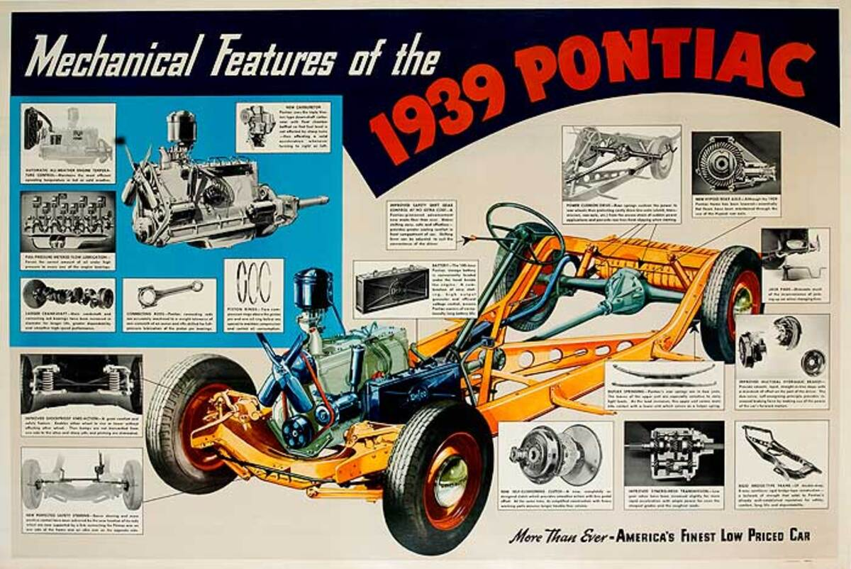1939 Pontiac Mechanical Features Advertising Poster