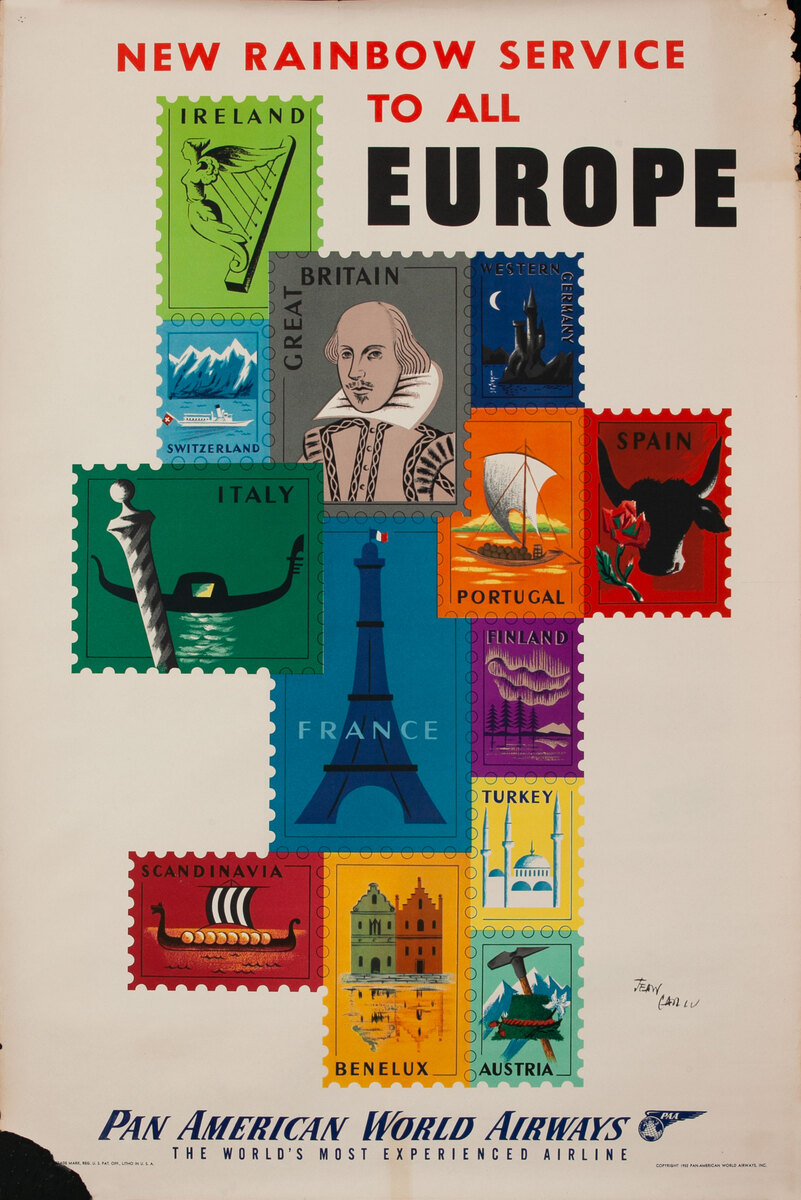 New Rainbow Service to All Europe Original Pan Am Travel Poster Stamps