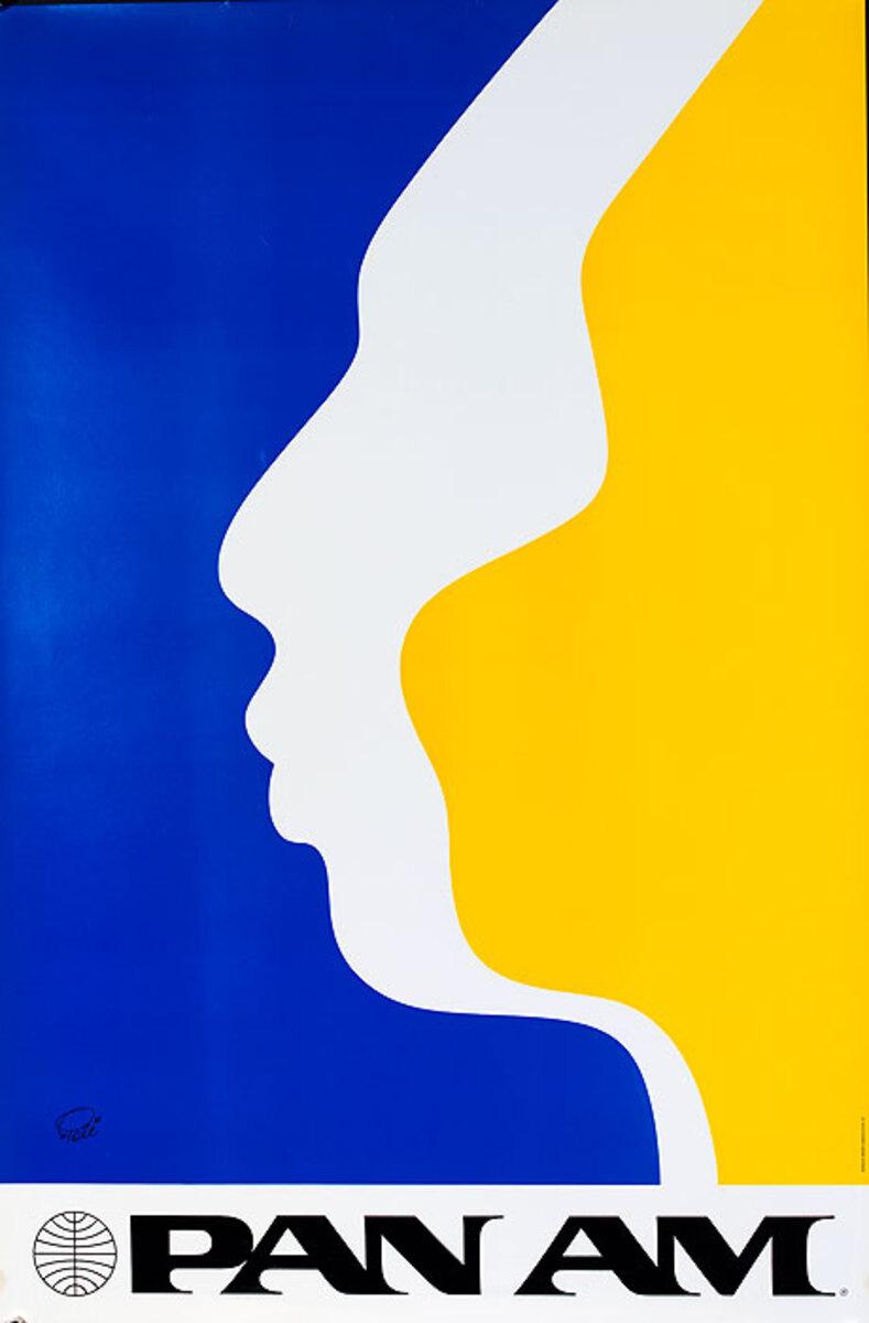 Original Vintage Pan Am Travel Poster Face Profiles Brazil