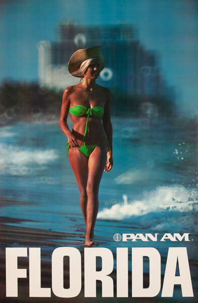 Pan Am Airlines Travel Poster Florida Beach Photo