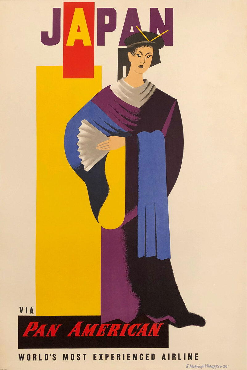 Japan via Pam Am The World's Most Experienced Airline Original Travel Poster