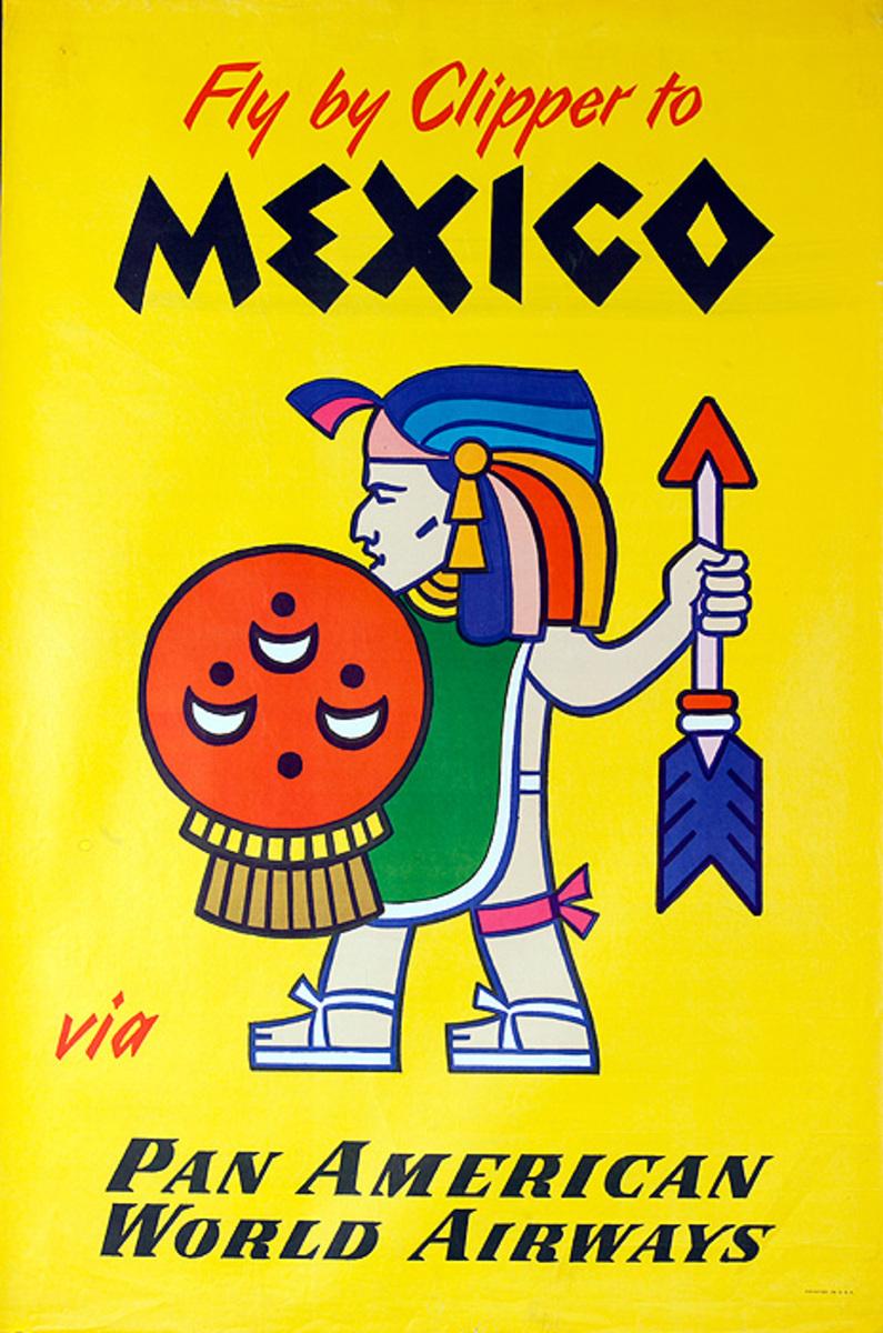 Original Vintage Pan Am Travel Poster Mexico Maya