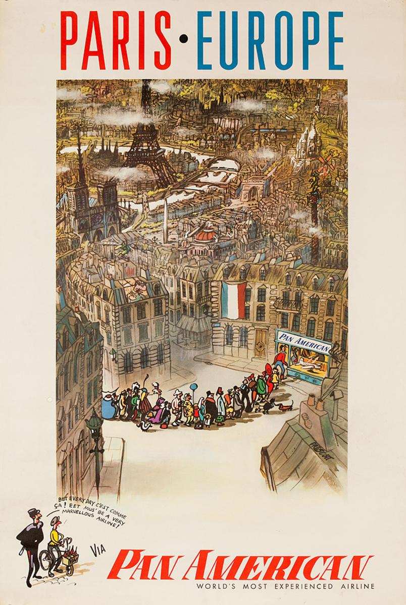 Original Vintage Pan Am Travel Poster Paris Europe