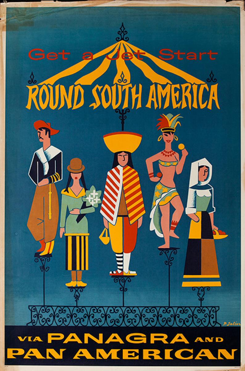 Original Pan Am Airways Travel Poster Round South America