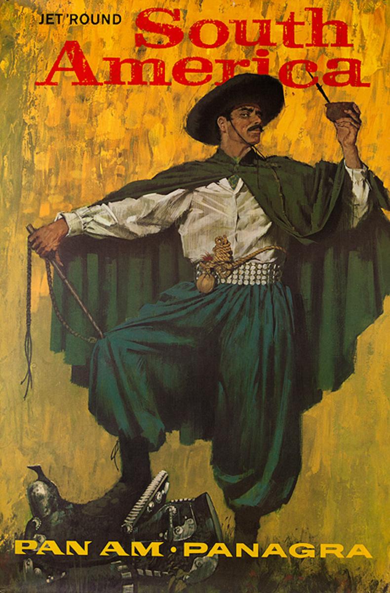 Original Vintage Pan Am Travel Poster South America Original Vintage Panagra Cowboy
