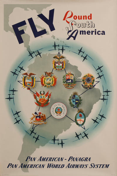 Fly Round South America, Pan American - Panagra Pan Pan American World Airways, Original Travel Poster