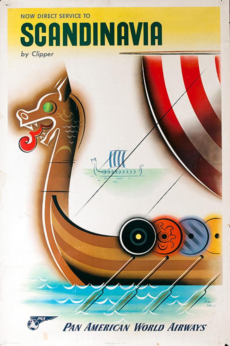 Original Vintage Pan Am Travel Poster Scandinavia
